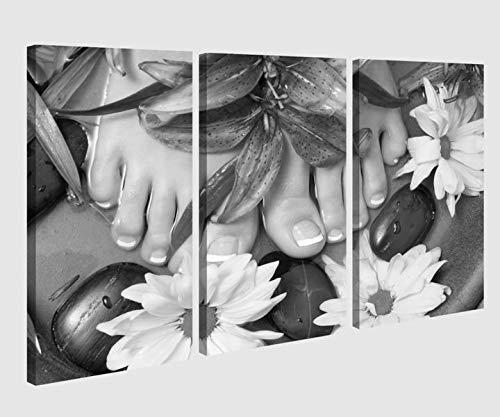 Leinwandbild 3 tlg schwarz weiß Wellness Pedikuere Massage Kat5 Fuss Spa Bild Bilder Leinwand Leinwandbilder Holz Wandbild mehrteilig Kunstdruck 9AB221, 3 tlg BxH:120x80cm (3Stk 40x 80cm)