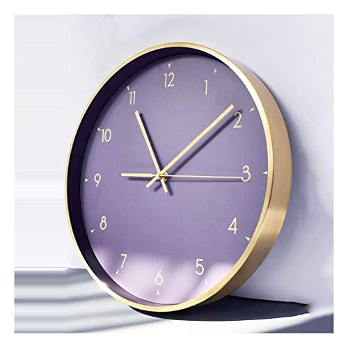 Reloj de Pared Elegante púrpura con Marcos de Metal Cepillado Reloj de Pared Redondo Reloj de Pared Moderno para Sala de Estar Cubierta de Vidrio Transparente Alta Simple, Reloj de Pared