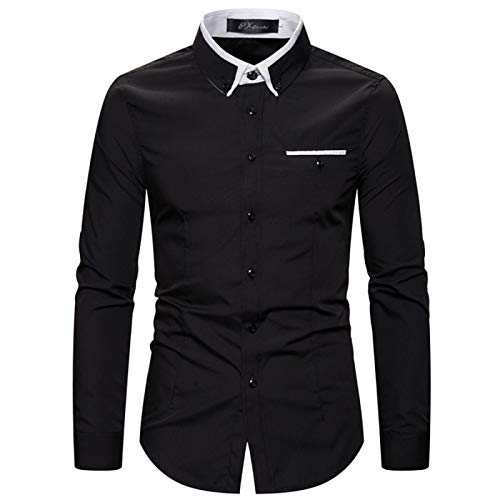 Camisa Delgada para Hombre, Manga Larga, Informal, de Negocios, cómoda, Todo fósforo, Costura a la Moda, Camisa clásica de un Solo Pecho M