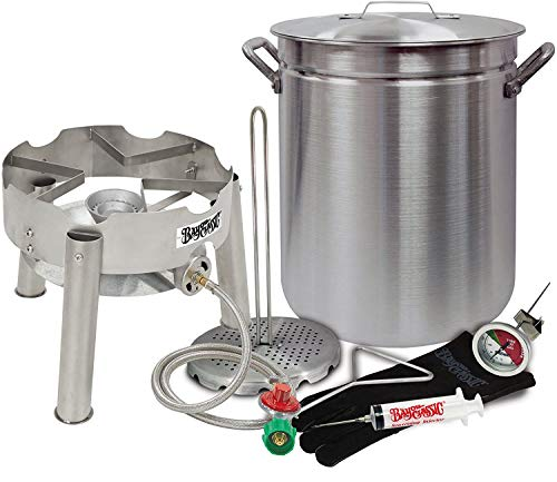 Deep Fryer Kit 42 Quart Aluminum Grand Gobbler for 25+ LBS Turkeys with Low Profile Stainless Steel Burner by Bayou Classic