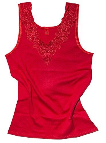 VCA Textil Débardeur - Coton peigné - Large empiècement Dentelle - sans Couture latérale - Femme (40/42, Rouge)