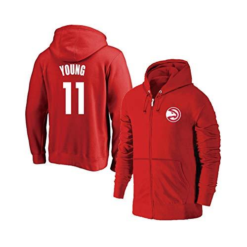 Herren Basketball Trikot Hoodie Atlanta Hawks #11 Trae Young Kapuzenpullover Zipper Training Jersey für Sport und Freizeit Gr. S, rot