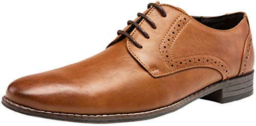 JOUSEN Men's Dress Shoes Brown Oxford Classic Plain Shoes Toe Brogue Formal Shoes for Men(5A097 brown01 10)