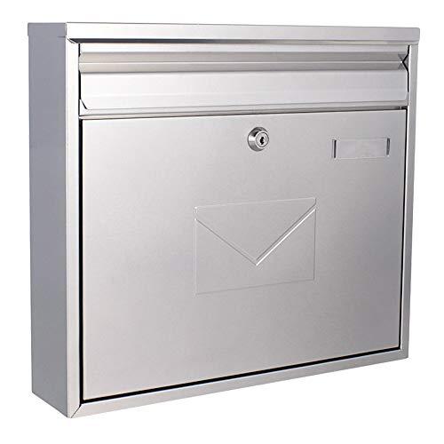 Rottner Briefkasten Teramo Stahl Silber, Mailbox, Postkasten, Zaunbriefkasten, 2Einwurfsmöglichkeiten, Namensschild