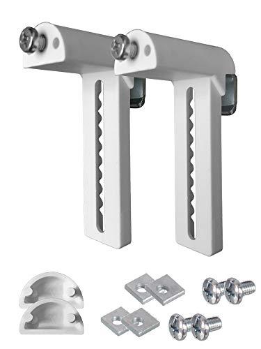 KLEMMFLEX Universal Klemmträger LANG zur Montage an Rollos, Jalousien, Plissee und Duorollo Doppelrollo - Farbe: Weiss - OHNE Bohren - 1 Paar = 2 Stück