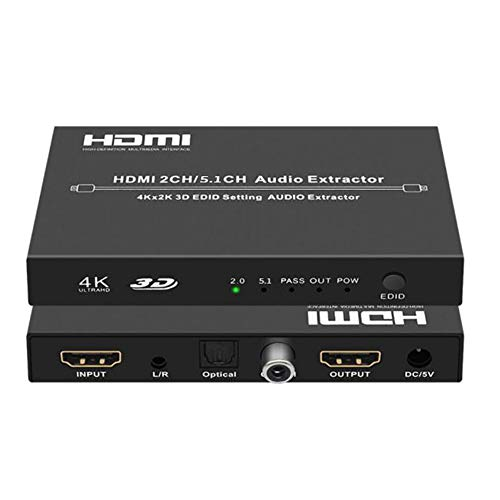 4K HDMI to HDMI + Audio Extractor Converter, HDMI 1.4 Audio Extractor, HDMI to HDMI + 5.1 SPDIF Optical/Toslink + 3.5MM AUX Stereo Audio L/R + Digital coaxial with EDID