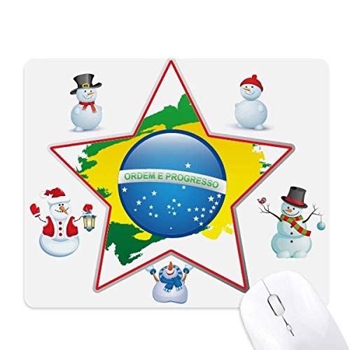 Mouse pad com a bandeira do Brasil, mapa de elementos culturais, boneco de neve, estrela da família