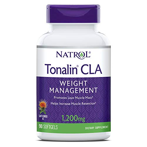 Natrol Tonalin CLA Softgels, Derived from safflower plant, Promotes lean muscle mass, Helpes increase muscle retention, Promotes fat metabolism, Weight management supplement, 1,200mg, 90 Count