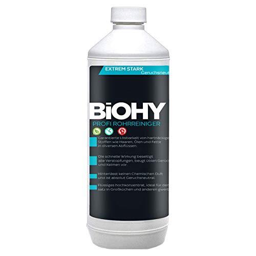 BIOHY Profi Rohrreiniger 1 Liter Flasche | Flüssiger, hochkonzentrierter Abflussreiniger | Geruchsneutral | Für alle Verstopfungen | EXTRA STARK