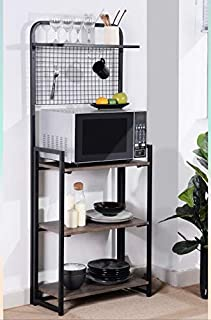 4-Tier Shelves Black Metal Dark Brown Finish Shelf Kitchen Bakers Rack Microwave Stand Foldable with Mesh Screen