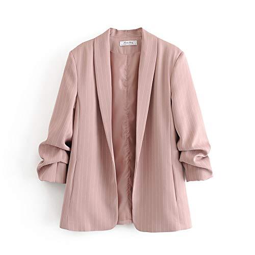 RVXZV SildFy Damen Blazer Vintage gestreiften Anzug Jacke Bonbon Farbe Freizeit Blazer Damen Cardigan Mantel Kleidung S Hellrosa