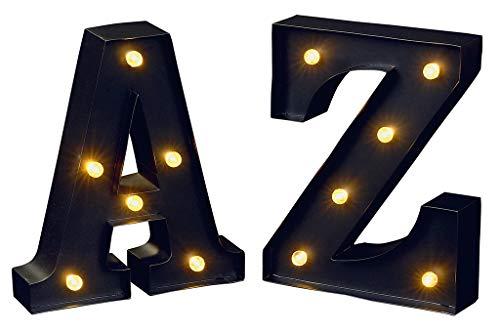 Moses Leuchtbuchstaben A und Z libri_x | LED Dekobuchstaben im Set zum Aufhängen | 16 cm, Metall, schwarz