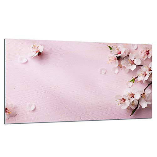 TMK | Placa de cristal para cubrir la vitrocerámica de 90 x 52 cm, protección contra salpicaduras, decoración de tablas de cortar, flores rosas