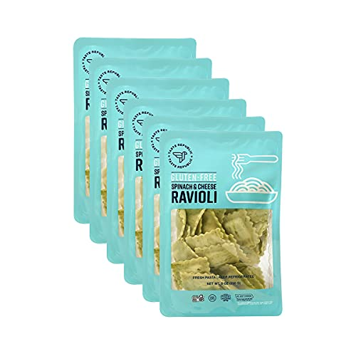Gluten-Free Pasta, Spinach and Cheese Ravioli, Fresh Pasta Cooks in Just 3 Minutes by Taste Republic, Frozen, 9oz (6 pack)