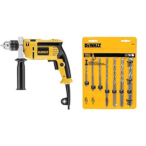 DEWALT DWE5010 1/2-Inch Single Speed Hammer Drill with DEWALT DW5207 7-Piece Premium Percussion Masonry Drill Bit Set