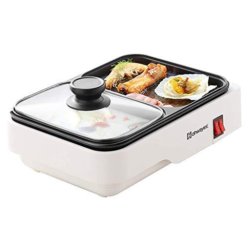HRSS Mini Hot Pot Home Barbecue mit integriertem Tablett, Multifunktions-Grill, elektrische und mechanische Kochpfanne, unabhängige Kontrolle
