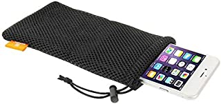 DFV mobile - Universal Nylon Mesh Pouch Bag with Chain and Loop Closure compatible with HTC Desire 19s (2019) - Black