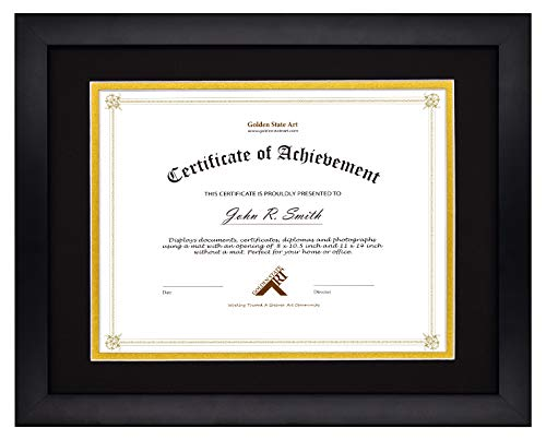 Golden State Art, Document/Photo Wood Frame for Document & Certificates, Real Glass (11x14 Frame for 8.5x11, Black with Black Over Gold Double Mat)