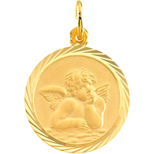 14k Yellow Gold Round St. Raphael Medal with Wheat Frame (18 MM)