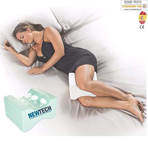 AIMO Spain Almohada cojín para piernas ortopédico de Rodilla KP-003 con Gel INFUSIONADO, Facilita el Dormir de Lado, Alivia Dolores de Espalda y Caderas, más Fresca,más cómoda, más higiénica