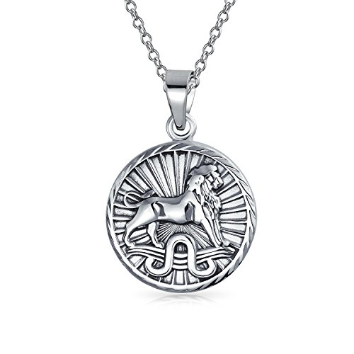Leo Zodiac Sign Astrology Horoscope Round Medallion Pendant For Men Women Necklace Antiqued Sterling Silver