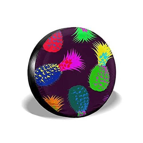 QQIAEJIA Cubierta Universal para llanta de Repuesto Colorful Pineapple Impermeable Universal Wheel Cubiertas de neumáticos for Trailer SUV Camper