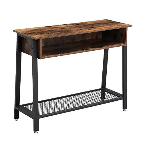 VASAGLE-console in industrieel ontwerp, gangtafel, stabiele console, dressoir met rasterplank en open vak, eenvoudige montage, entree, woonkamer, donkerbruin LNT93X
