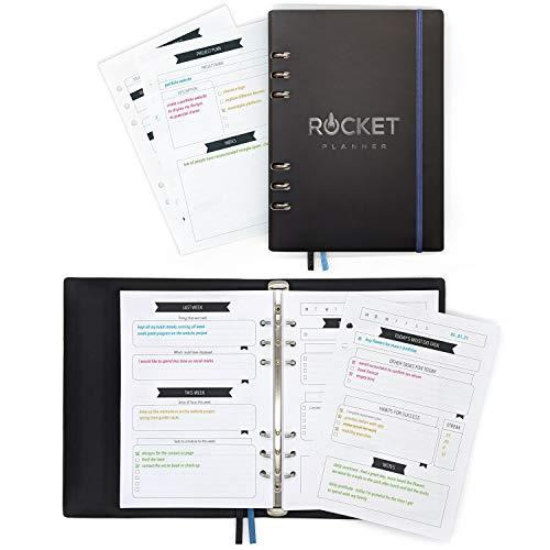 Rocket Planner Personal Organizer A5 - Erfolgsjournal - Nachfüllbares Notizbuch undatiert – Ziele erreichen ist einfach mit diesem Life Planner | Dankbarkeitstagebuch | Productivity Planner | Tagebuch