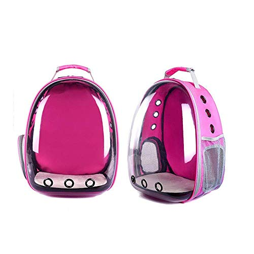 XHAEJ Mochila Mascota Bolsa Mascota Moda Casual Moda Oval Transparente Cremallera Oxford Gran Capacidad Mochila Viajes al Aire Libre Caminar (Color : Rose Red, Size : 31x42x25cm)