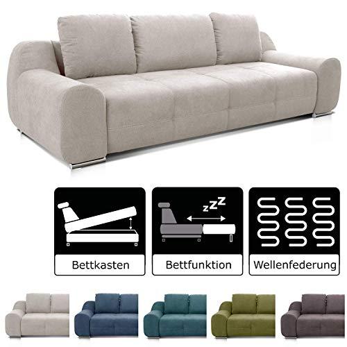 Cavadore Big Sofa Benderes / Schlafsofa mit Bettfunktion und Bettkasten/ Moderne Couch mit Steppung...