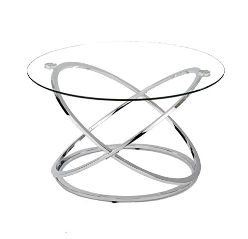 Aspect Monarch Glass Coffee Table (80 x 80 x 46 cm, Silver)