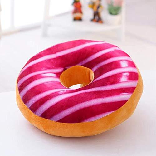 Adkwse Donut Soft Kissen Schokoladen Plüsch Zierkissen,Kuschelkissen Extra Dick und Flauschig,Dekoratives Kissen, Dekorationen (Rosa weiß)