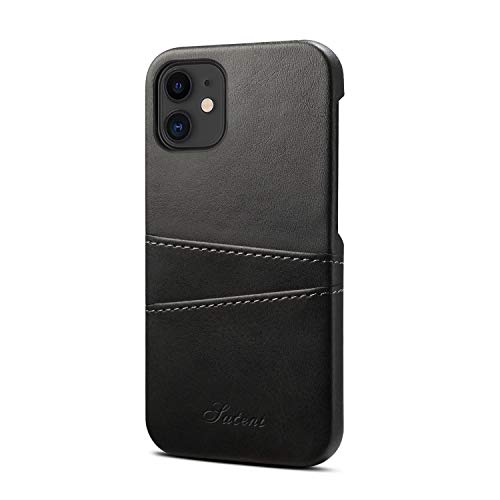 Cover Shell Suitable for Apple iPhone 12 Mini 5.4 2020 PU Leather Case Simplicity Soft Protective Black Thin Light Card for Men Women