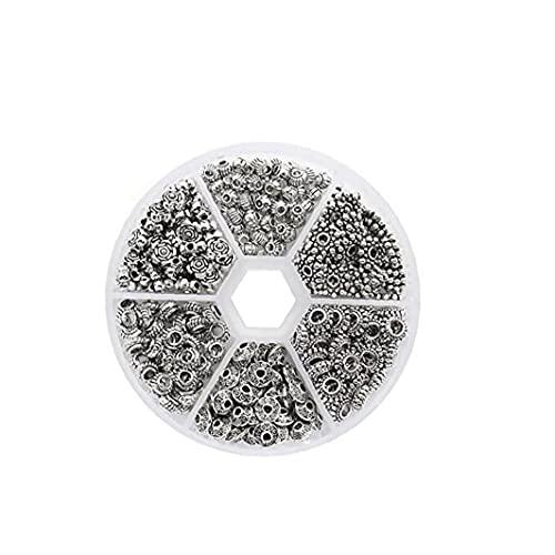 6 Estilo Antique Silver Spacer Beads Tibetano Bali Alloy Tube Metal Spaceers Aleación Joyería Hallazgos Accesorios para Pulsera Collar 1set Accesorios para uso diario