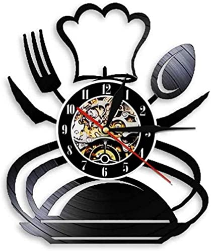 mbbvv Vintage Tenedor Cuchillo y Cuchara Cocina Arte de la Pared Reloj de Pared diseño de Cubiertos Restaurante Comedor decoración de la Pared vajilla Disco de Vinilo Reloj de Pared