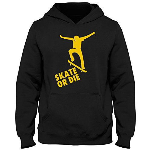 Kinder Hoody Hoodie Skateboard Skater Half Pipe Longboard Board Shirt, Größe:7-8 Jahre (122-128cm), Farbe:schwarz/gelb