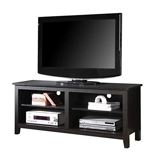 Pemberly Row 58' Minimal Rustic Farmhouse Wood TV Stand Console for TV's up to 64' Flat Screen in Black
