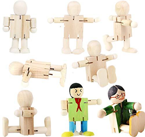 8PCS Figuren Holzfiguren,Liuer Dekoration DIY Figuren Deko zum Basteln Holz Puppen Holzpuppen zum Bemalen Kegel Figurenkegel Holzkegel Handwerk Tischdeko Hochzeits Baum Anhänger(Einstellbar Form)