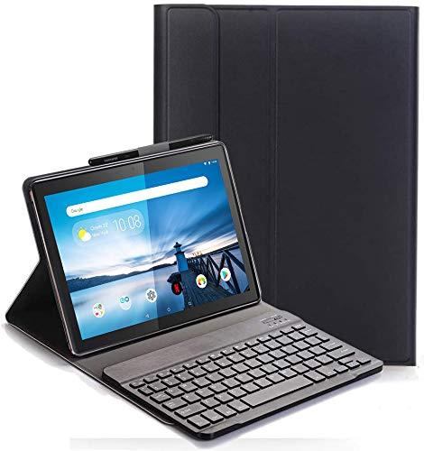 Keyboard Case for Lenovo Tab M10 TB-X605/TB-X505 - (QWERTY Layout) Ultra Slim Flip with Removable Wireless Keyboard Stand Case Cover for Lenovo Tab M10 TB-X605F/L TB-X505F/L 10.1 Inch, Black