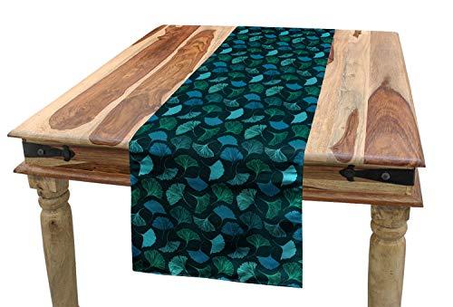 ABAKUHAUS Tropisch Tafelloper, Exotische Ginkgo Bladeren Motif, Eetkamer Keuken Rechthoekige Loper, 40 x 180 cm, Turquoise Dark Teal
