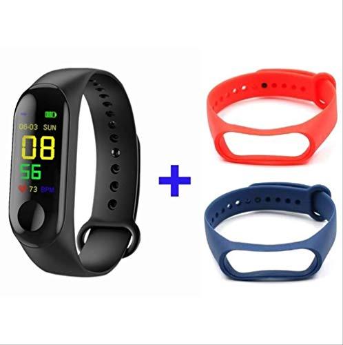 WFQ Watch Smart Watch zur Überwachung von körperlicher Aktivität, Smart-Armband Blutdruckmessgerät, Smart-Armband für Herren, Schwarz Rot Blau