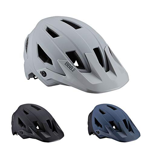 BBB Cycling Bike Shore BHE-59 Cycling Mountain Helmet with Adjustable Visor in-Mold Shell Construction CE Certified Mens Womens Size M (54-58cm) Matt Grey