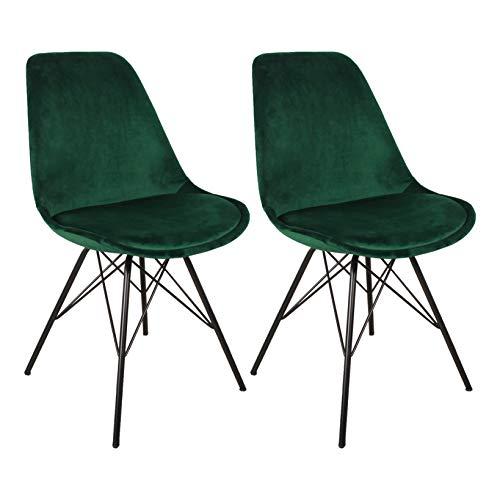 Nimara 2er Set Samt Schalenstuhl in skandinavischem Design | Esszimmerstühle, Wohnzimmer und Küchenstühle | Der perfekte Stuhl für den Esstisch | Retro Stuhl mit Metallbeinen (Grün)