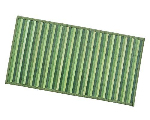 ARREDIAMOINSIEME-nelweb Tappeto Bamboo Legno Stuoia Cucina Bagno Camera Degradè Varie Misure Passatoia bambù Retro Antiscivolo MOD.Bamboo 50X240 Verde (D)