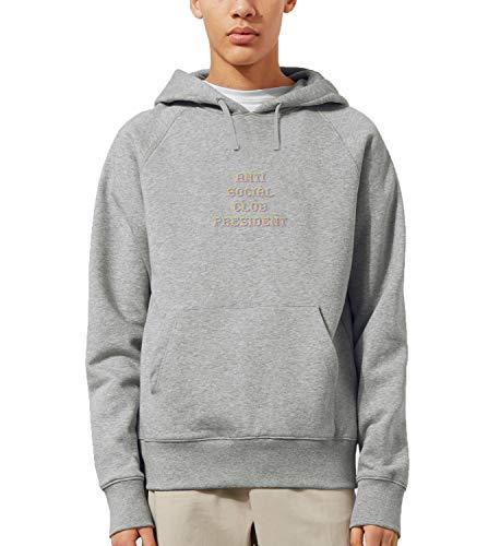 Anti Social Club President Citazione Pixel_MRZ0790 Felpa con cappuccio 100% cotone per uomo donna estate maglione regalo, casual unisex - grigio - Small