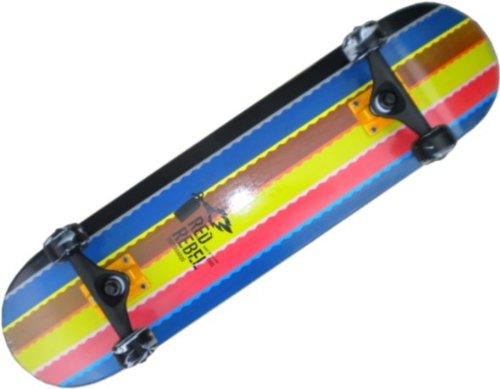 Red Rebel Skateboard Komplettboard Rainbow Stripes 7.625 inch mit VENTURE Achsen Black/Orange