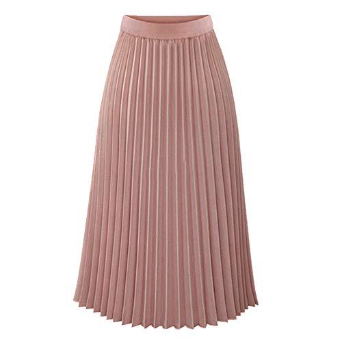 Dames effen geplooide lange rok rokken - roze - S