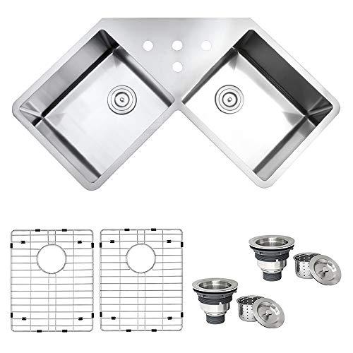 Ruvati RVH8400 Undermount Corner Kitchen Sink 16 Gauge 44