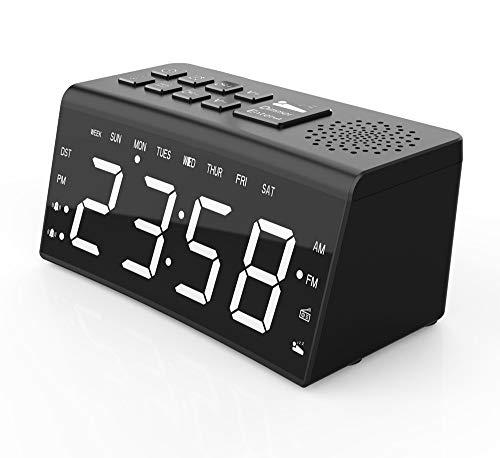 Réveil LED Bleu, Réveil Radio Piloté Réveil Numérique LED Réveil Digital Equipé De 2 Alarmes Fonction Snooze Luminosité Réglable Convient pour Chambre