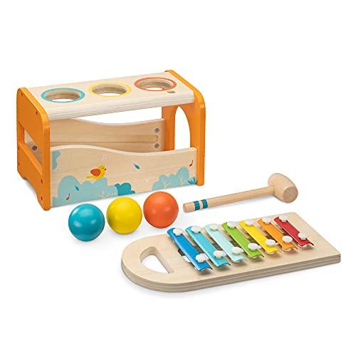 Navaris Juego musical de madera - Set de 1x xilófono de percusión y 1x juguete con martillo y 3 bolas - Instrumentos musicales para niños +18 meses